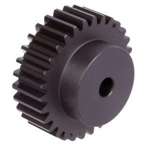 Spur gear made of steel C45 with hub module 2.5 20 teeth tooth width 25mm outside diameter 55mm